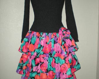 1980's Prom Dress Size 6 By R&K Evening Dropped Waist 3 layers of bright floral taffeta skirt w/ matching flower on side