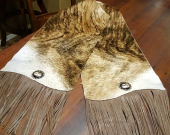Brindle Cowhide Table Runner Gorgeous Coloring with Concho Table Linen Placemats