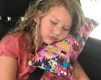 Girl Super Hero seat belt pillow- kids travel pillow