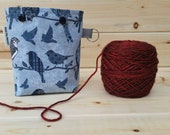 Blue Birds Ball Sack for up to DK Weight -- Yarn Holder for Inside Project Bags Handmade