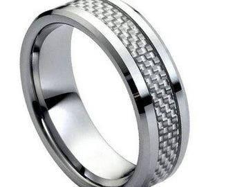 Grey Carbon Fiber Inlay Low Beveled Edge – 8mm