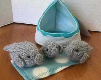 Hand knitted Manatee family