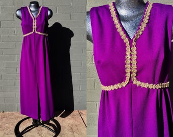 Vintage Hostess Medium Maxi Dress Amethyst Purple with Gold Lace trim Long  Jewel Sixties 1960s