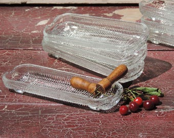 Vintage Corn on the Cob Plates made in Brazil, Set of 9 Clear Glass Footed Corn Shaped Plates  Corn on the Cob Dishes