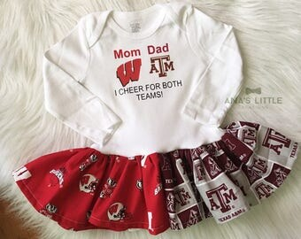 Texas A&M and Wisconsin Badgers Custom House Divided Bodysuit Dress ( Texas AM - Badgers ) I Cheer For Both Teams
