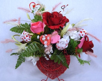 To My Valentine Floral Centerpiece, Valentine Decoration, Floral Centerpiece, Holiday Centerpiece