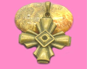 Large pendant with bail 40x35mm Templar cross