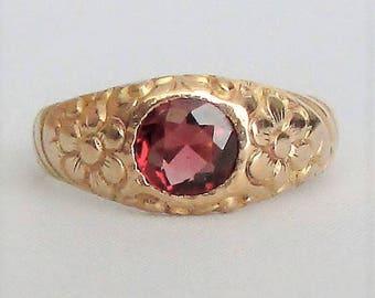 Rose Gold Malaya Garnet Ring Floral Engraved Band - Beautiful!