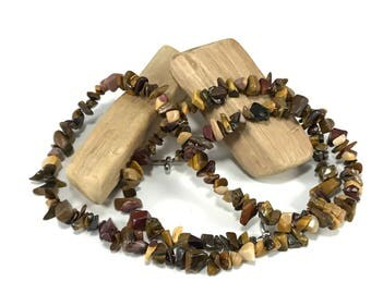 LAST CHANCE Mookiate and Tigers Eye Chip Necklace; Gemstone Chip Necklace; Brown Chip Necklace