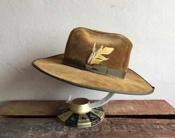 Vintage Hat Brown Corduroy size 7 1/8