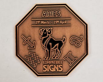 ARIES Zodiac Astrological Coin Antique Copper Finish