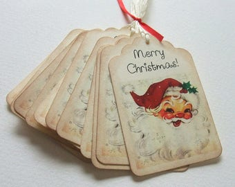 Santa Claus Tags, Vintage Christmas, Retro Christmas, Merry Christmas, Labels, Set of 6 or 12