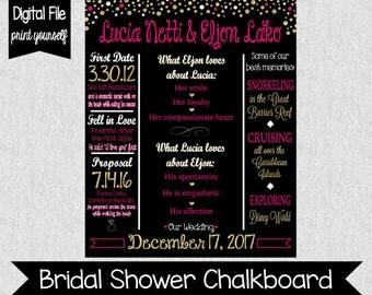 Pink and Gold Bridal Shower Chalkboard - Digital - Kate Spade Bridal Shower - Engagement - Bridal Shower Sign - Bridal Shower Decor - Couple