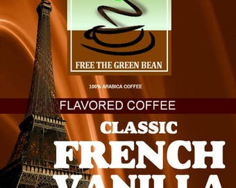 Whole bean roasted coffee, Classic FRENCH VANILLA Flavored Coffee, 2oz  SAMPLER