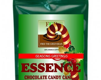"Holiday Preview! ESSENCE Chocolate Candy Cane  flavored coffee, ""Delightfully refreshing and invigorating""  2oz"