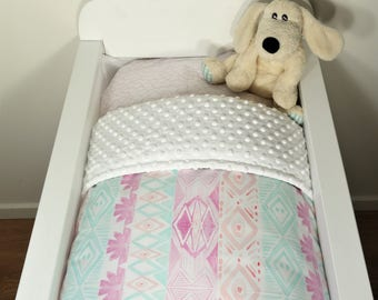 Bassinet gift packge OR bassinet quilt - Pastel aztec AND white minky