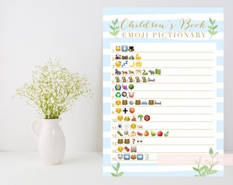 Blue and gold Baby boy shower game, Children's Book Emoji Pictionary printable, leafy green, blue stripe shower game, INSTANT DOWNLOAD 012