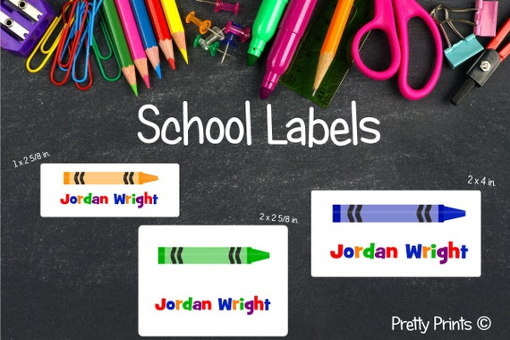 School Crayon Stickers, Crayon Labels, School Labels, Back to School, Personalized Stickers, Personalized Labels, Tags, School Stickers