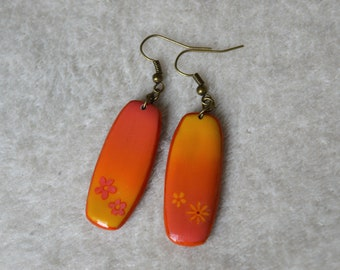 Asymmetrical long earrings with fimo / polymer clay - Orange, yellow, floral