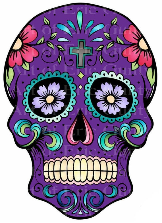 Purple Sugar Skull Halloween Birthday - Edible Cake and Cupcake Topper For Birthday's and Parties! - D22660