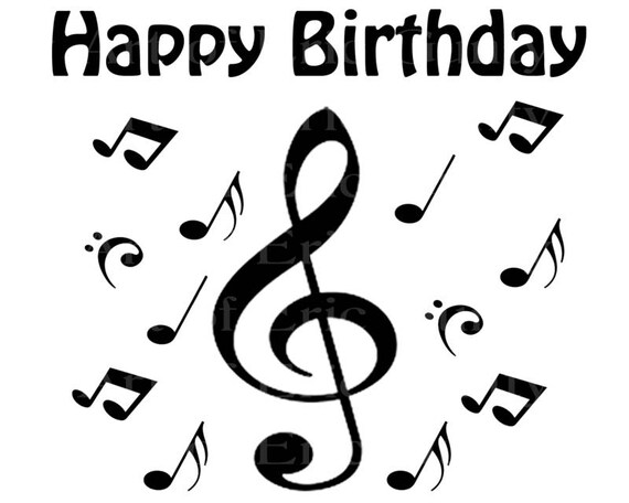 Band Music Notes Rainbow Happy Birthday - Edible Cake and Cupcake Topper For Birthday's and Parties! - D22719