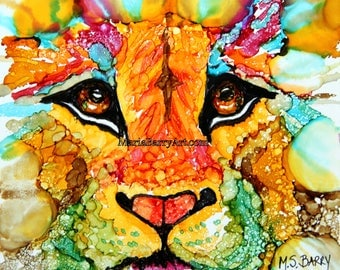 Lion's Head: Gold. Print from an Original Alcohol Ink Painting on ceramic tile