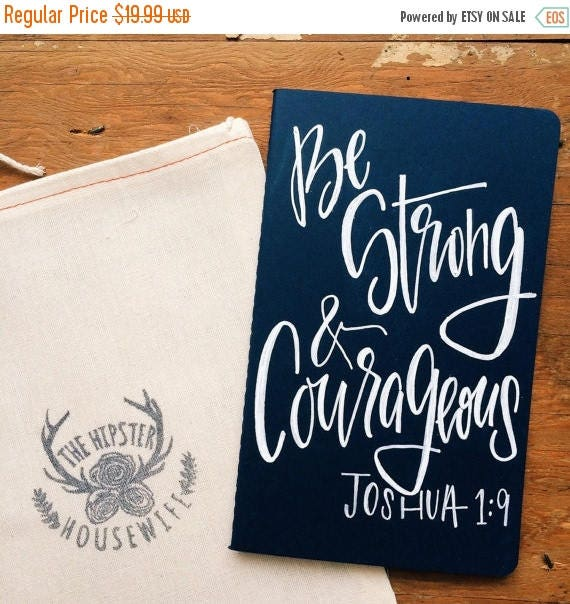 ON SALE Father's Day gift, Men's prayer journal, scripture gift for husband, be strong and courageous Joshua 1:9, scripture notebook, bible