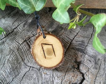 Rune Necklace, Rune Pendant, Uruz, Rune Jewelry, Cedar Wood, Talisman Necklace, Strength Necklace, Wiccan Jewelry, Wooden Necklace