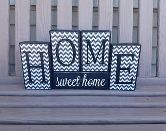Home Sweet Home, Handmade Wood Decor, Rustic Decor, Housewarming Gift, Home Decor, Block Set