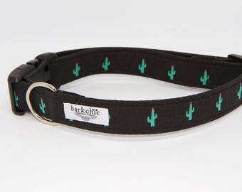"""Cactus Dog Collar   Black and Green Cactus Dog Collar   Desert Dog Collar   .75"""" Dog Collar   1"""" Buckle Dog Collar"""