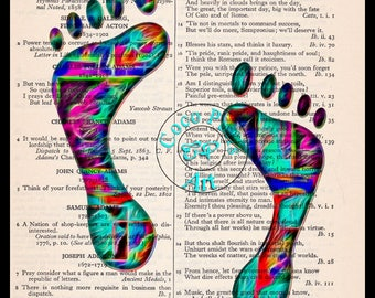 Footprint Liquid Abstract Art Beautifully Upcycled Vintage Dictionary Page Book Art Print, Variety of Colors