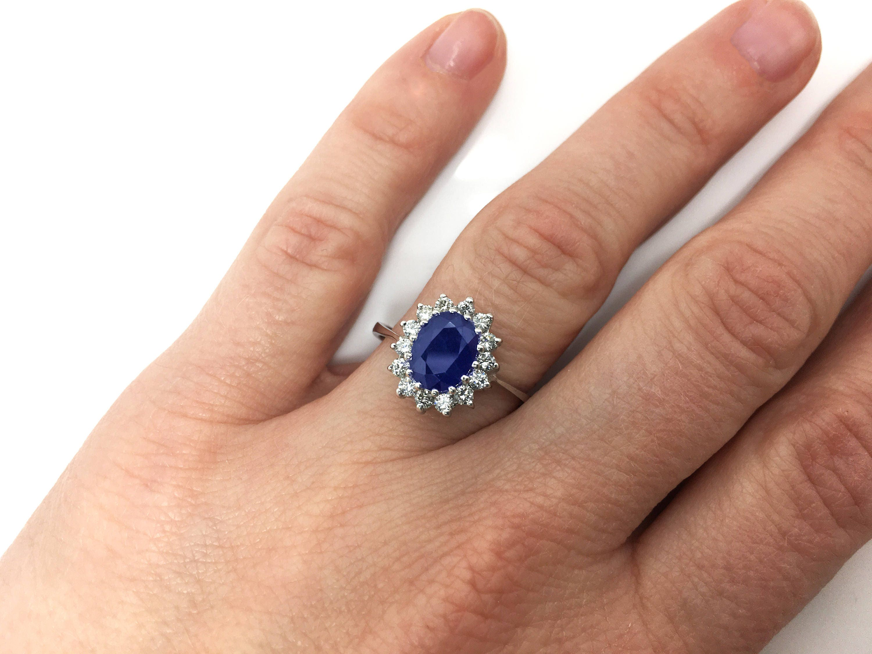 Diamond Ring With Sapphire Blue Sapphire 1ct Blue Sapphire