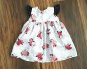 SALE! Peach and Grey floral dress, fall floral dress, fall baby dress, fall toddler dress, flutter sleeve dress, handmade baby dress