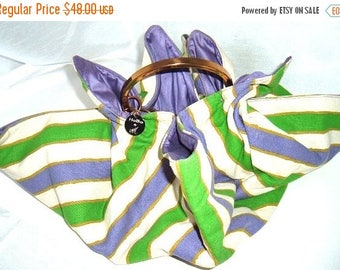 End of Summer SALE Vintage Funky HoBo Purse By MM - Summer Bag - Purple Green and White Awning Stripe w Brass Handle - Purple Lining - Cute