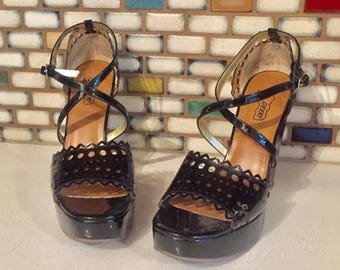 Black Patent Leather Platform Wedge Sandals Cut Outs Heels Shoes Size 7 37