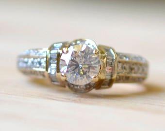 1.25 Carat Diamond Engagement Ring - Vintage Engagement Ring - Size 9 Engagement Ring - Large Diamond Ring - 2 Carat Diamond Ring