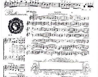 Victorian-style Baltimore Waltz Music Sheet Large Clear Cling Stamp