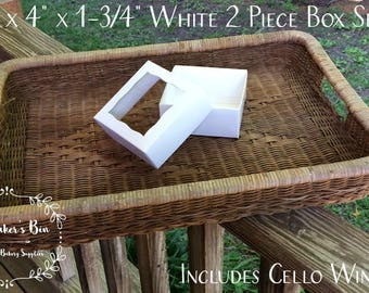 "4"" x 4"" x 1 3/4"" White/White Two Piece Simplex Style Box Set With Window • Wedding Favors • Candy • Cookies • Bonbon Box •  Party Favors"