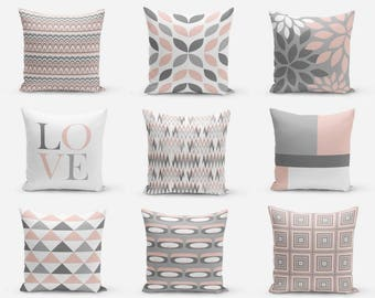 Blush Pillow Covers, Blush Grey White, Decorative Pillow Covers, Home Decor, Throw Pillow Cover, Geometric, Love Pillow Cover