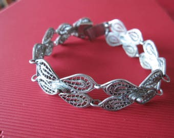 "Sterling Silver Mexico Filigree Flower Link Bracelet 7.25"" (1261)"