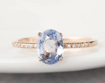 14k rose gold 1.07ct natural unheated blue sapphire ring, diamond pave engagement ring, oval sapphire, unheated sapphire, can-r102