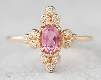 14k rose gold pink tourmaline diamond engagement ring, alternative engagement ring, delicate unique engagement ring, ado-r104-ptou, rts