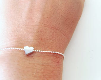 Fully silver 925 silver bracelet with mini silver heart