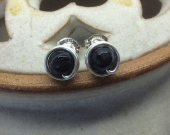 Black Agate Wire Wrapped Stud Earrings Handmade Black Banded Agate Earrings Black Agate Studs Black Agate Posts Black earrings