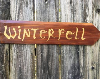 """Game of Thrones """"WINTERFELL"""" distressed directional sign"""