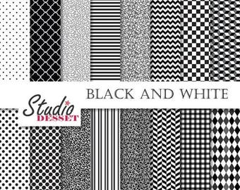 SUMMER SALE - 55% OFF Black and White Digital Paper, Monochrome Backgrounds, dots, lines, squaress, checkers, Geometric