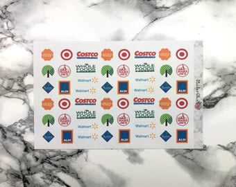 F043 Shopping Stores Planner Stickers