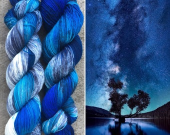 Night Sky, indie dyed merino nylon sock yarn