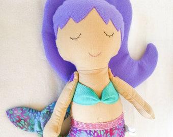 Mermaid - soft fabric and felt doll