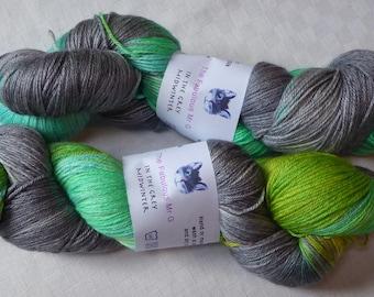 In the Grey Midwinter, Hand Dyed Yarn, Shawl Yarn, Blue Faced Leicester/Silk, 4 ply, 150gm, Grey, Aqua Greens